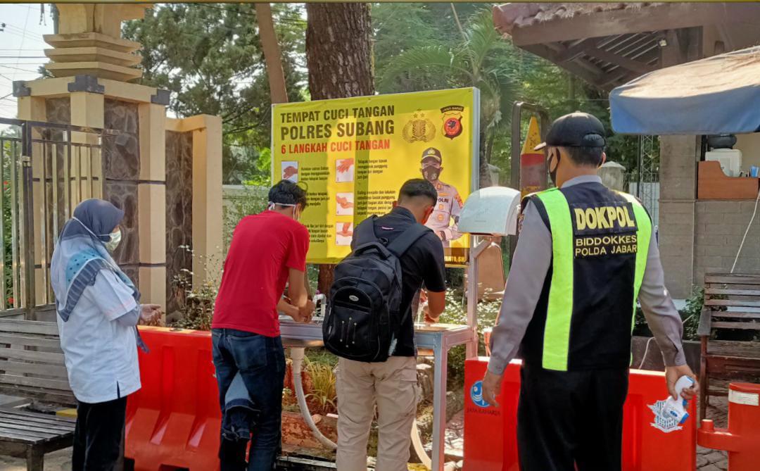 Polres Subang Laksanakan Giat Rutin Himbauan Prokes dan 3M kepada Masyarakat maupun Personelnya