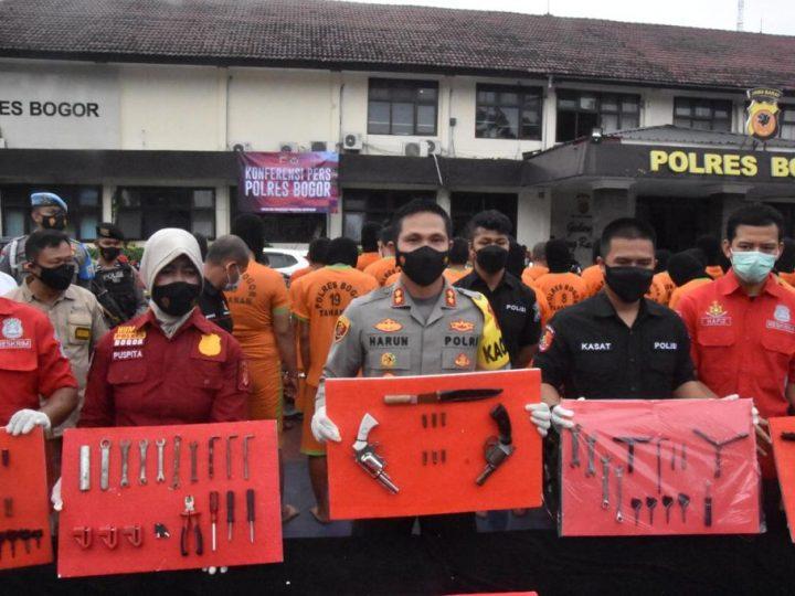 Kapolres Bogor Polda Jabar Ungkap Sindikat Curanmor, 60 Tersangka Berhasil Ditangkap Dan Sita 134 Ranmor