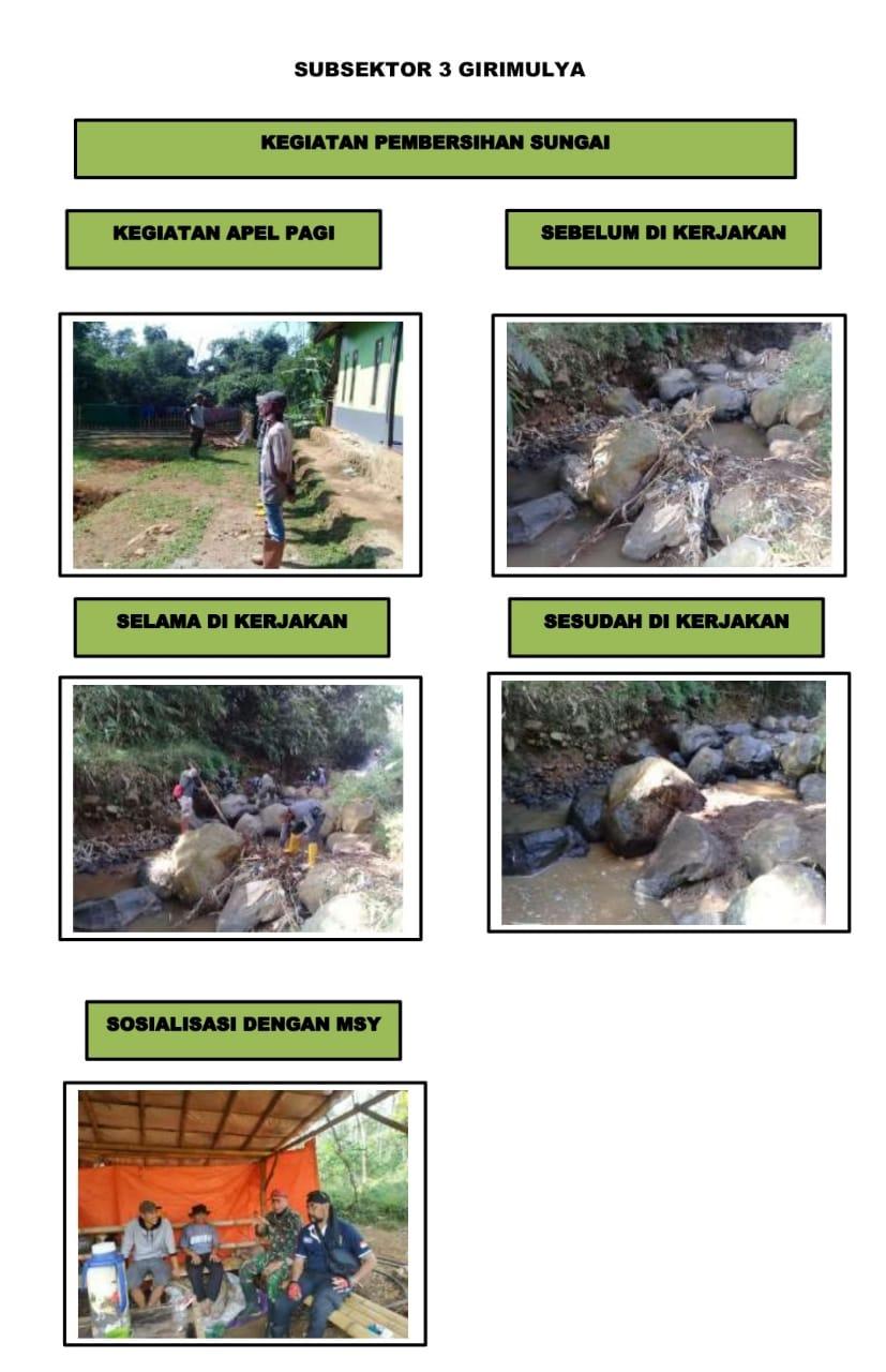 Sub sektor 3 Desa Girimulya Sektor-2 Citarum Harum Laksanakan Karya Bakti dan Komsos